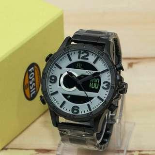 jam tangan fossil rantai dual time