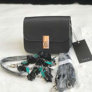 Zara black flower + paperbag