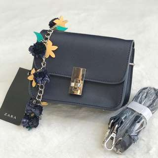 Tas Zara navy flower + dustbag