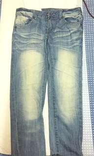 寬鬆刷色牛仔長褲