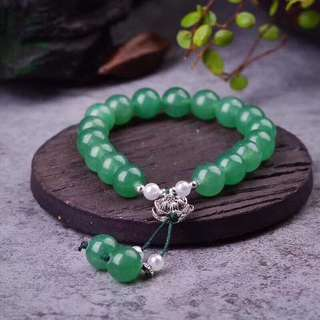 Crystal stone Natural Dongling jade single ring bracelet Round beads diameter 10mm With shell beads + Tibetan Anemone.