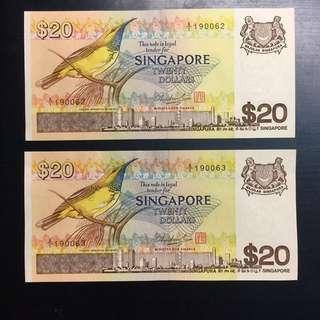 Singapore Bird $20 A/1 banknotes (2 runs)