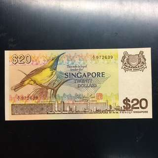 Singapore Bird $20 UNC First Prefix A/1 9---9 banknote