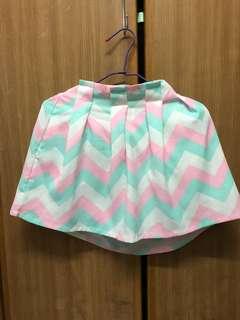 幾何鬆緊腰短褲裙