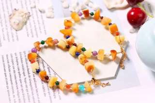 Bracelet Pure natural ore beeswax original stone with multi-shaped bracelet, retro style, with natural blood Cooper, dry green, mica, green gold, Tianhe stone, pearl, rose stone, etc...