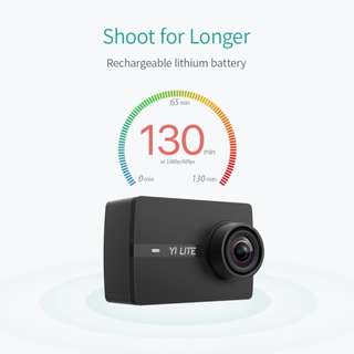 YI Lite Action Camera (Black) with Waterproof Case (Free Sandisk 16GB MicroSD card and Small Camera Case)