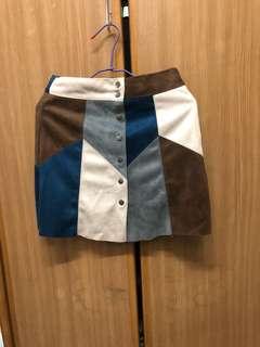 撞色排扣短裙