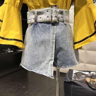 (預購)2018春夏新款復古雙釦腰帶顯瘦高腰短裙褲休閒闊腿牛仔褲