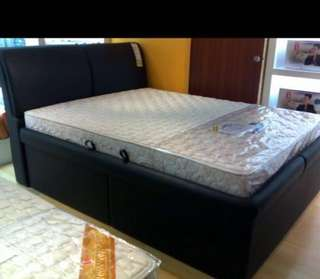 Seahorse king size bed frame with storage and mattress