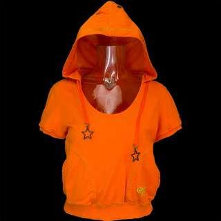 美國品牌CONVERSE橘色洞洞口袋短袖連帽T恤 L號