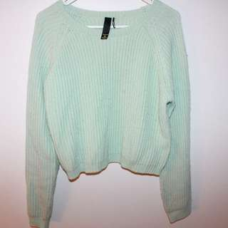 Mint green cropped sweater