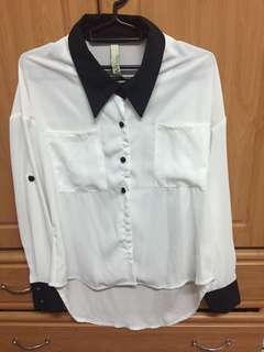 前短後長黑領白底雪紡襯衫