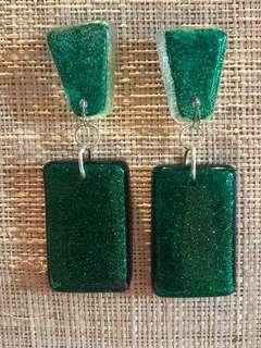 Handmade Emerald Green Glitter Resin Earrings