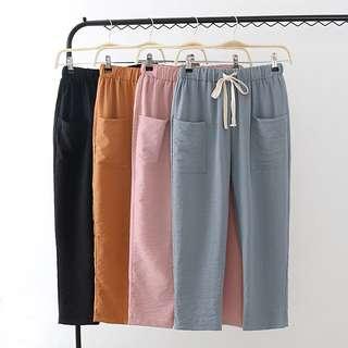 (XL~4XL) 2018 summer Korean elastic waist Drawstring wrinkle double pocket pants