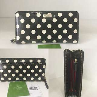 Kate Spade KS Neda wallet patent Leather polka black and white