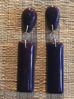 Handmade Purple Resin Drop earrings