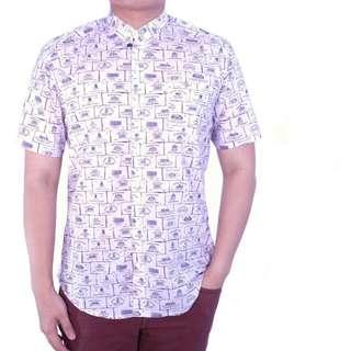 Supplier Kemeja Pria Cowok Lengan Pendek Motif Violet Corak Logo