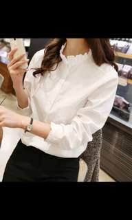 BN White Blouse with frill collar