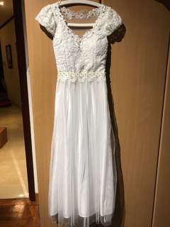 [BN] white lace dress (can be prom dress!!)
