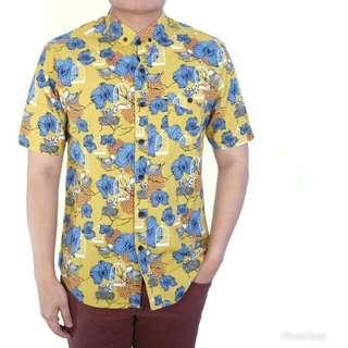 Supplier Kemeja Pria Cowok Lengan Pendek Motif Kuning Corak Flowers