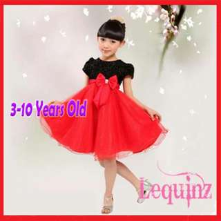 Shimmering Butterfly Bow Girls Dress Black & Red