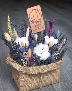 Cotton Flower / Lavender Table Arrangement / Mother's Day