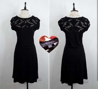 Black dress with black floral lace