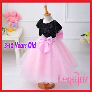 Shimmering Butterfly Bow Girls Dress Black & Pink