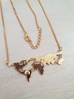 World Map Travel Gold Necklace Geography Science Geek