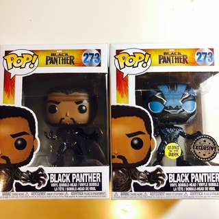 Black panther GITD exclusive Funko pop set of 2