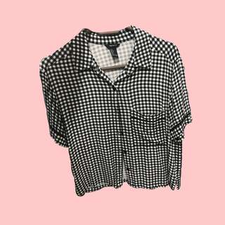 cropped button down polo