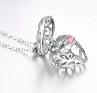 NKLL-009 • S925 Silver Hidden Love Ruby Ring Locket Necklaces