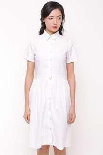 Local Brand- RAMUNE Raella White Shirt Dress