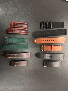 22 & 20 mm Leather and Canvas Strap Clearance