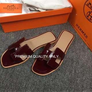 Hermes Oran Sandal in wine red