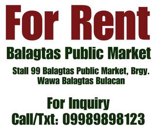 For Rent Stall in Balagtas Public Market