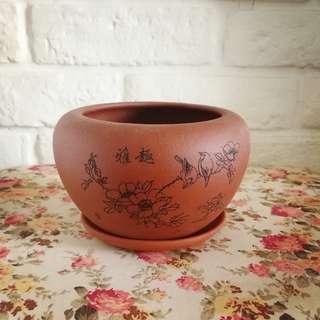 Small Classic Bonsai Pot with matching saucer                                                                      11.5cm (Dia) x 8cm (H)