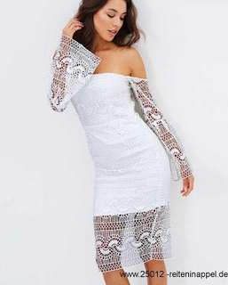 Bardot White Geo Lace Dress