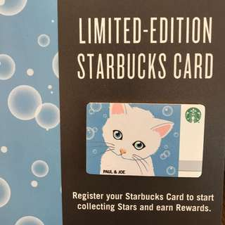 【$10 Value】 Singapore Starbucks Card Paul & Joe 2018 Blue Cat