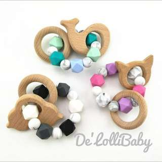 Marble Silicone & Wooden Teether