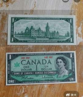加拿大纸幣 1967年1元全新UNC
