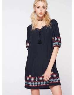 🚚 OshareGirl 04 歐美女士純色民族風刺繡連身洋裝連身裙