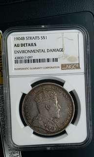 1904B Straits S$1 NGC AU Detail