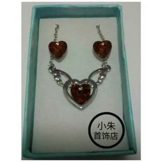 Red Heart Wing Necklace