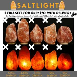 Himalayan Crystal Salt Lamps | 2@$70 with free delivery | Purify & Cleanse Air | Release Negative Ions