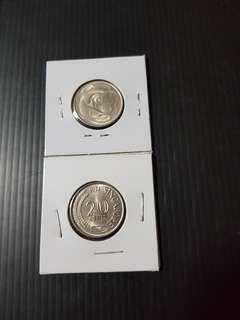 1971 Singapore 20 Cent (2 pcs)