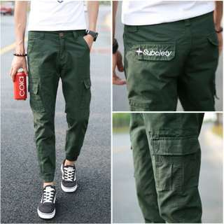 FREE MAIL // Subciety Cargo Jogger Pants: Green XL