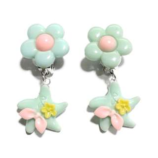 Handmade Korean Style Starfish Flower Dropping Resin Pain Relief Safety Earring Clip For Kids