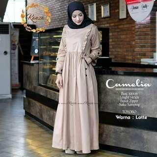 FF - 0318 - Dress Gamis Busana Muslim Wanita Camelia
