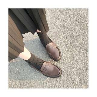 原宿 復古 英倫 皮革鞋  消光 霧面 學院 學生 圓頭鞋 單鞋 娃娃鞋 面試 低跟